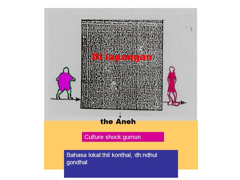 the Aneh Di lapangan Bahasa lokal:thil konthal, dh:ndhul gondhal Culture shock:gumun