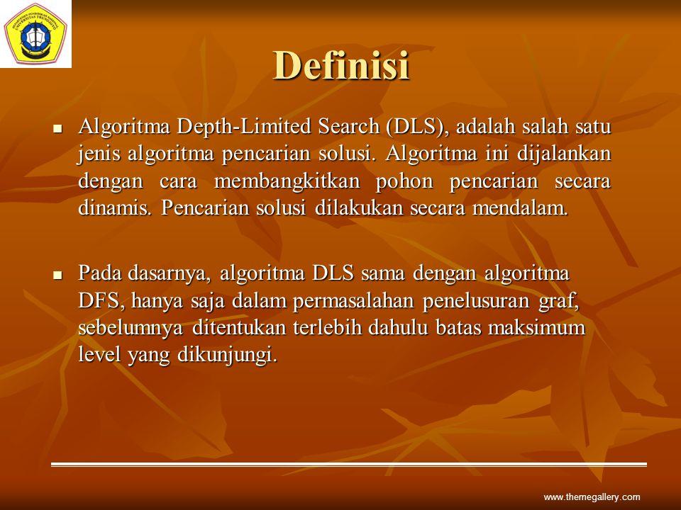 www.themegallery.com Definisi Algoritma Depth-Limited Search (DLS), adalah salah satu jenis algoritma pencarian solusi. Algoritma ini dijalankan denga