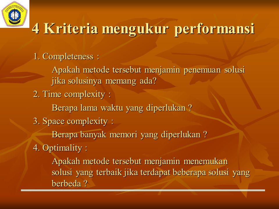 4 Kriteria mengukur performansi 1. Completeness : Apakah metode tersebut menjamin penemuan solusi jika solusinya memang ada? 2. Time complexity : Bera