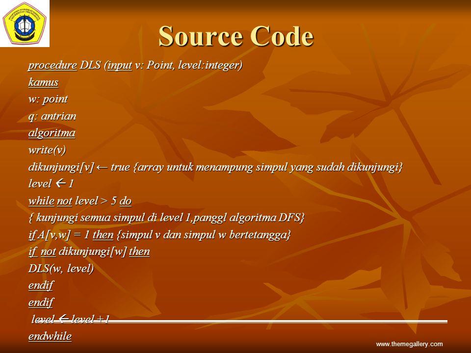 Source Code procedure DLS (input v: Point, level:integer) kamus w: point q: antrian algoritmawrite(v) dikunjungi[v] ← true {array untuk menampung simp
