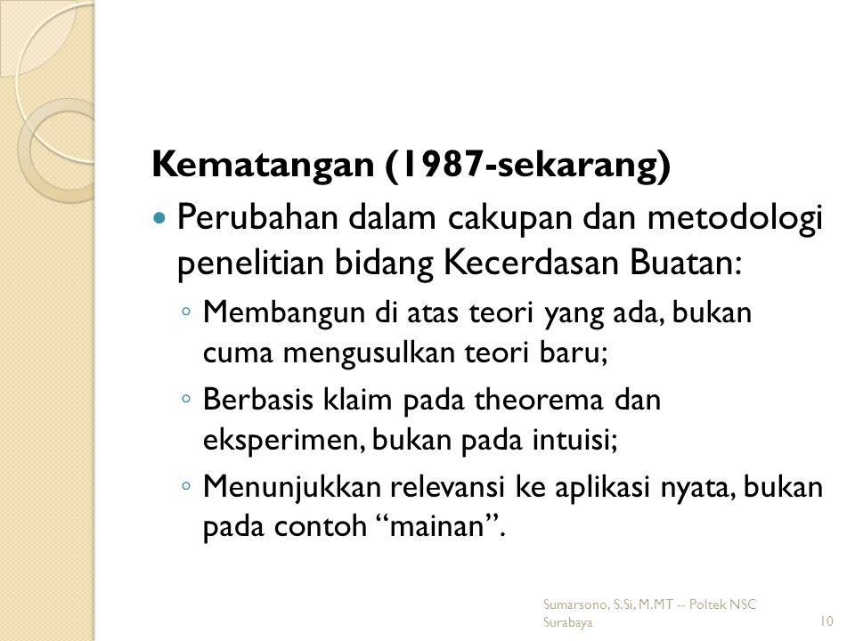 Kematangan (1987-sekarang) Perubahan dalam cakupan dan metodologi penelitian bidang Kecerdasan Buatan: ◦ Membangun di atas teori yang ada, bukan cuma mengusulkan teori baru; ◦ Berbasis klaim pada theorema dan eksperimen, bukan pada intuisi; ◦ Menunjukkan relevansi ke aplikasi nyata, bukan pada contoh mainan .