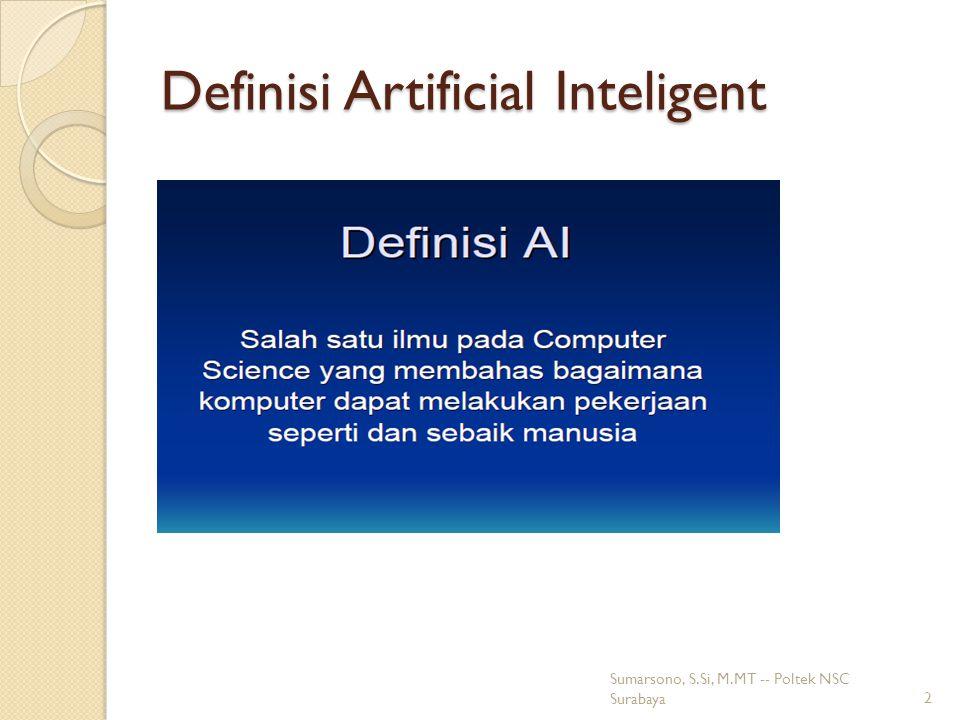Lingkup Artificial Intelegent pada Aplikasi Komersial 23 Sumarsono, S.Si, M.MT -- Poltek NSC Surabaya