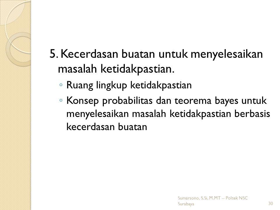 5.Kecerdasan buatan untuk menyelesaikan masalah ketidakpastian.
