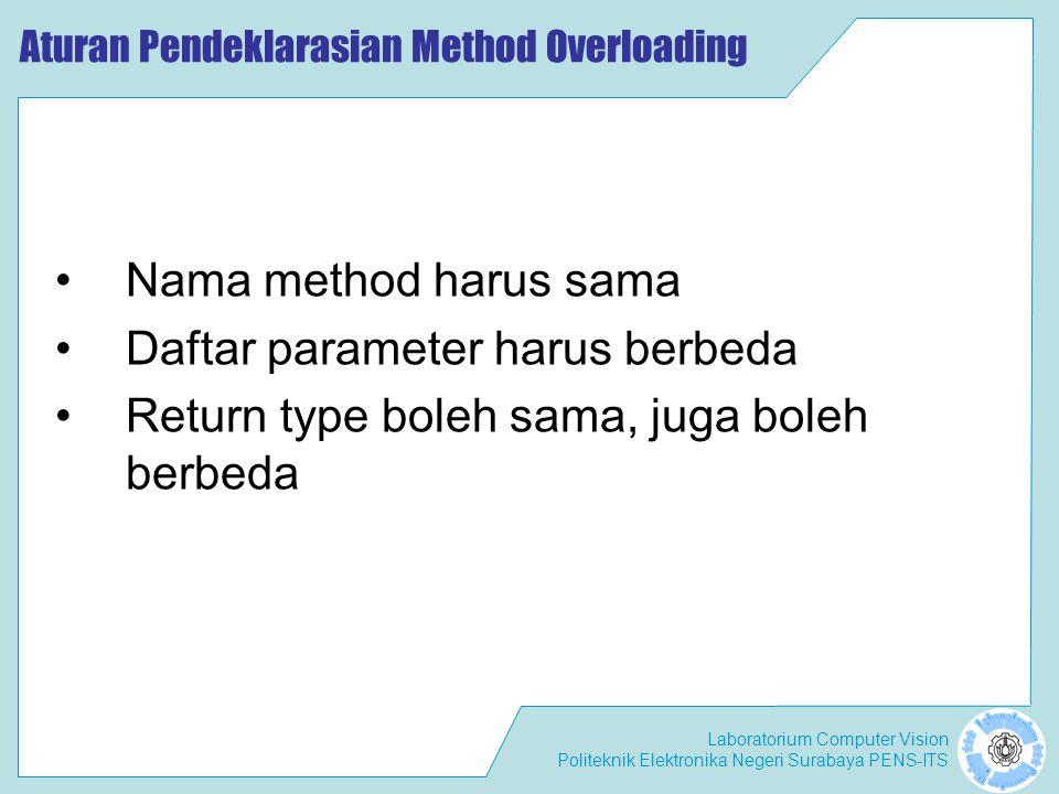 Laboratorium Computer Vision Politeknik Elektronika Negeri Surabaya PENS-ITS Aturan Pendeklarasian Method Overloading Nama method harus sama Daftar pa
