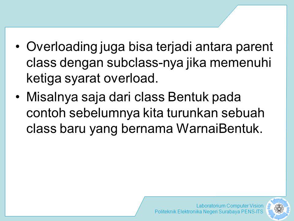 Laboratorium Computer Vision Politeknik Elektronika Negeri Surabaya PENS-ITS Overloading juga bisa terjadi antara parent class dengan subclass-nya jik