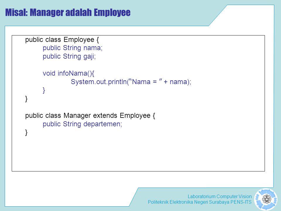 Laboratorium Computer Vision Politeknik Elektronika Negeri Surabaya PENS-ITS Misal: Manager adalah Employee public class Employee { public String nama