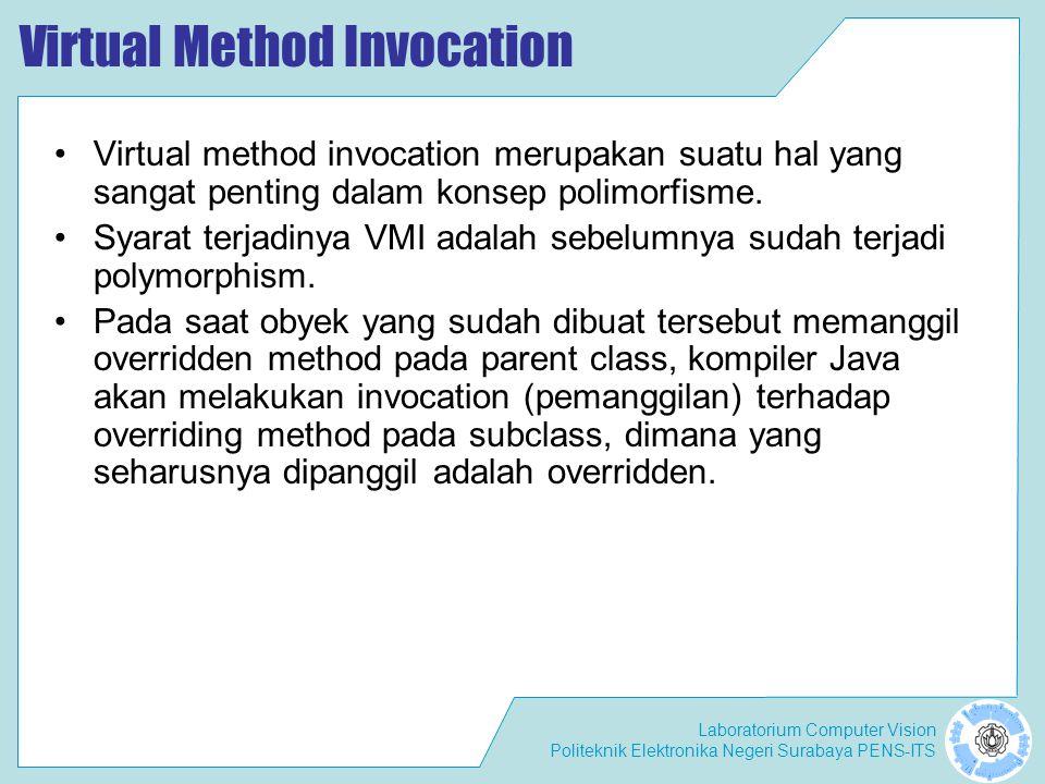 Laboratorium Computer Vision Politeknik Elektronika Negeri Surabaya PENS-ITS Virtual Method Invocation Virtual method invocation merupakan suatu hal y