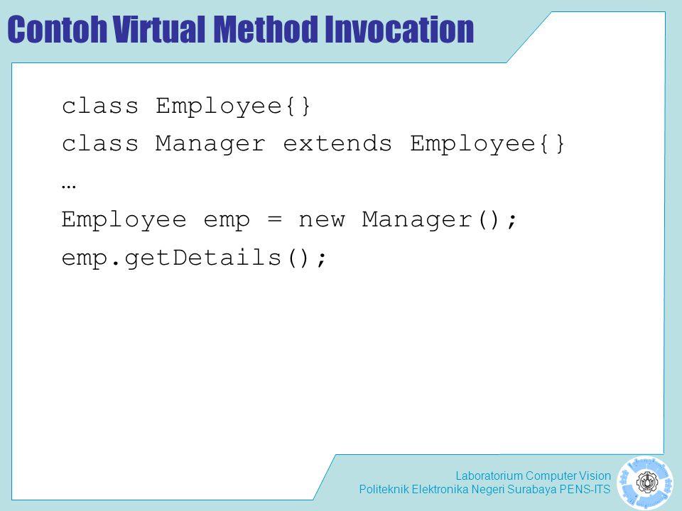 Laboratorium Computer Vision Politeknik Elektronika Negeri Surabaya PENS-ITS Contoh Virtual Method Invocation class Employee{} class Manager extends E