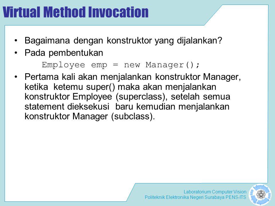 Laboratorium Computer Vision Politeknik Elektronika Negeri Surabaya PENS-ITS Virtual Method Invocation Bagaimana dengan konstruktor yang dijalankan? P