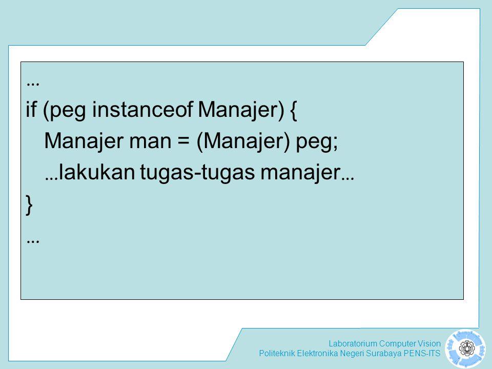 Laboratorium Computer Vision Politeknik Elektronika Negeri Surabaya PENS-ITS … if (peg instanceof Manajer) { Manajer man = (Manajer) peg; … lakukan tu