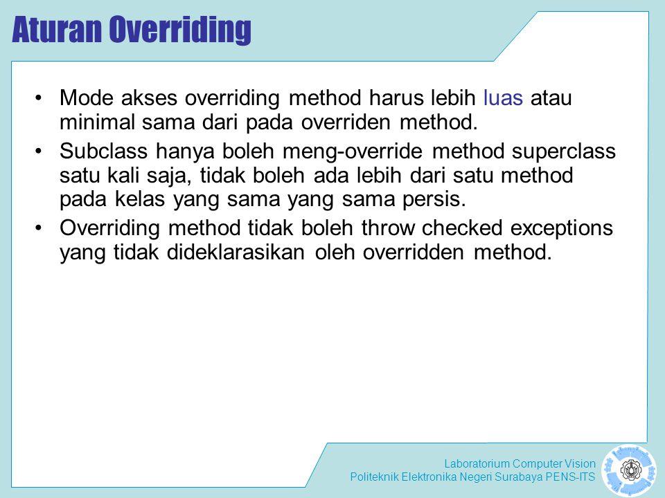 Laboratorium Computer Vision Politeknik Elektronika Negeri Surabaya PENS-ITS Aturan Overriding Mode akses overriding method harus lebih luas atau mini