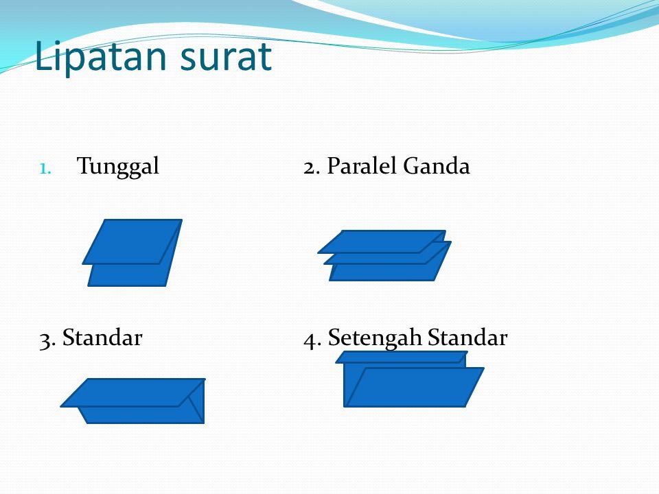 1. Tunggal2. Paralel Ganda 3. Standar4. Setengah Standar Lipatan surat