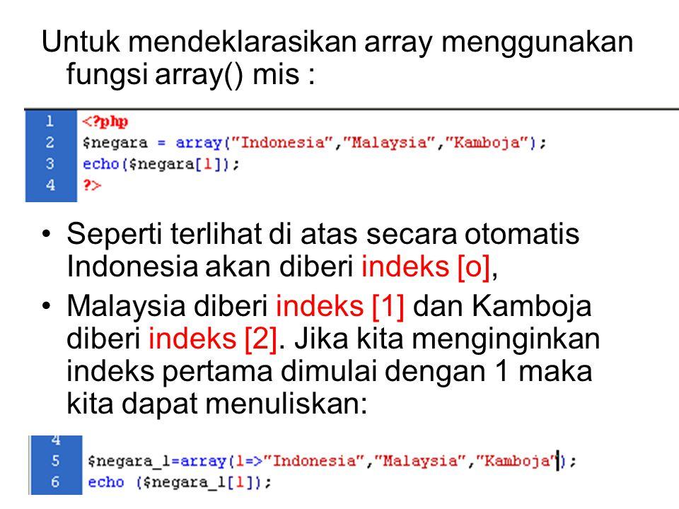 Setiap elemen dalam array memiliki nomor indeks, nomor indeks dalam array diawali dengan nol [0]. Pada deklarasi array jika kita tidak mendeklarasikan