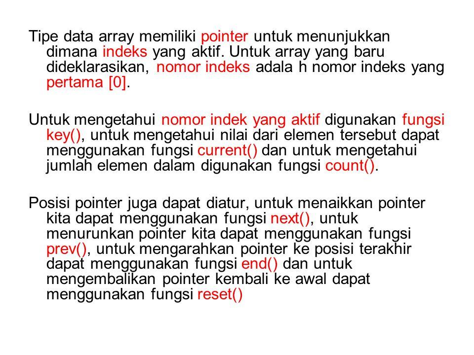 Untuk mendeklarasikan array menggunakan fungsi array() mis : Seperti terlihat di atas secara otomatis Indonesia akan diberi indeks [o], Malaysia diberi indeks [1] dan Kamboja diberi indeks [2].