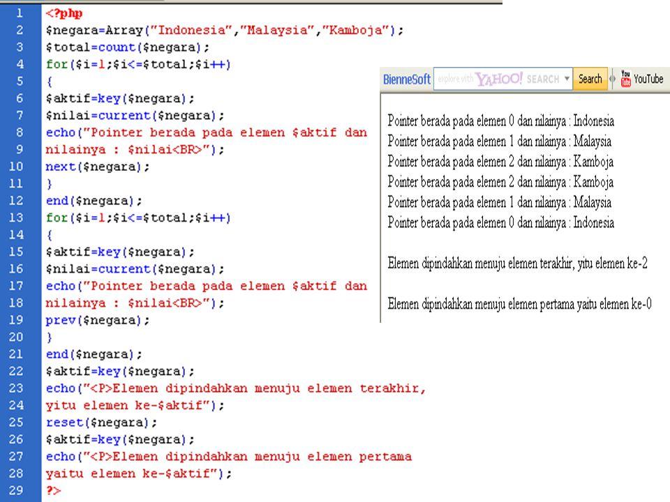 Tipe data array memiliki pointer untuk menunjukkan dimana indeks yang aktif. Untuk array yang baru dideklarasikan, nomor indeks adala h nomor indeks y