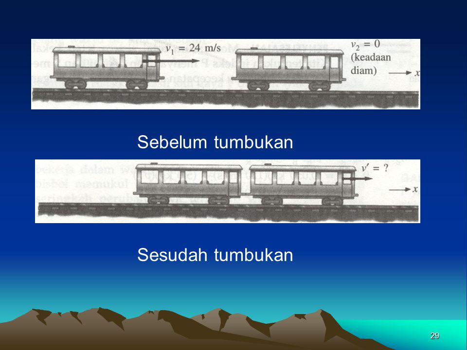 28 Contoh Sebuah gerbong kereta 10.000 kg yang berjalan dengan laju 24,0 m/s menabrak gerbong lain yang sejenis yang sedang dalam keadaan diam.