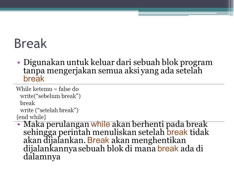 Break Digunakan untuk keluar dari sebuah blok program tanpa mengerjakan semua aksi yang ada setelah break Maka perulangan while akan berhenti pada bre