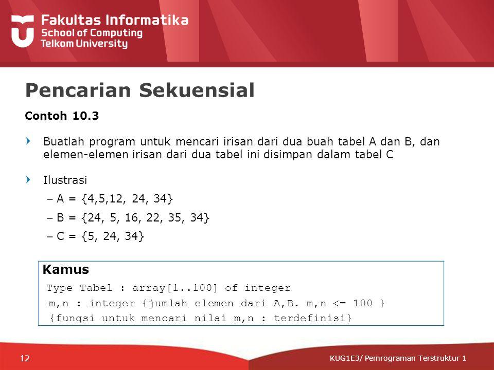 12-CRS-0106 REVISED 8 FEB 2013 KUG1E3/ Pemrograman Terstruktur 1 Pencarian Sekuensial Contoh 10.3 Buatlah program untuk mencari irisan dari dua buah tabel A dan B, dan elemen-elemen irisan dari dua tabel ini disimpan dalam tabel C Ilustrasi –A = {4,5,12, 24, 34} –B = {24, 5, 16, 22, 35, 34} –C = {5, 24, 34} Kamus Type Tabel : array[1..100] of integer m,n : integer {jumlah elemen dari A,B.