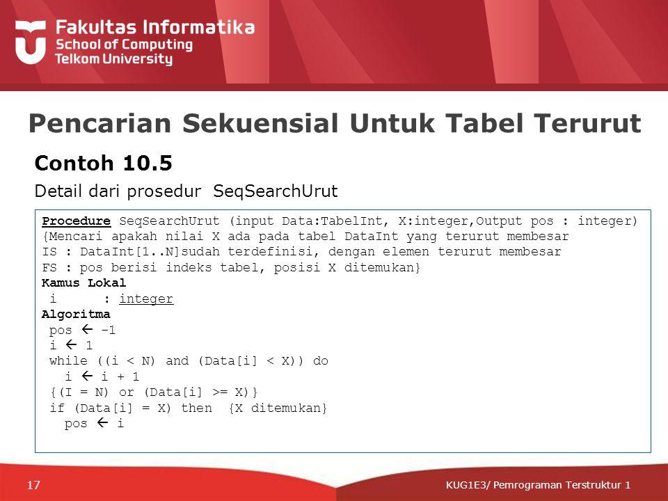 12-CRS-0106 REVISED 8 FEB 2013 KUG1E3/ Pemrograman Terstruktur 1 Pencarian Sekuensial Untuk Tabel Terurut Contoh 10.5 Detail dari prosedur SeqSearchUrut Procedure SeqSearchUrut (input Data:TabelInt, X:integer,Output pos : integer) {Mencari apakah nilai X ada pada tabel DataInt yang terurut membesar IS : DataInt[1..N]sudah terdefinisi, dengan elemen terurut membesar FS : pos berisi indeks tabel, posisi X ditemukan} Kamus Lokal i : integer Algoritma pos  -1 i  1 while ((i < N) and (Data[i] < X)) do i  i + 1 {(I = N) or (Data[i] >= X)} if (Data[i] = X) then {X ditemukan} pos  i 17
