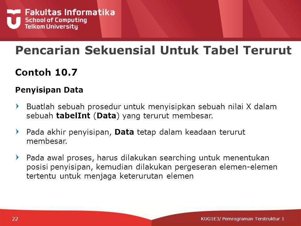 12-CRS-0106 REVISED 8 FEB 2013 KUG1E3/ Pemrograman Terstruktur 1 Pencarian Sekuensial Untuk Tabel Terurut Contoh 10.7 Penyisipan Data Buatlah sebuah prosedur untuk menyisipkan sebuah nilai X dalam sebuah tabelInt (Data) yang terurut membesar.