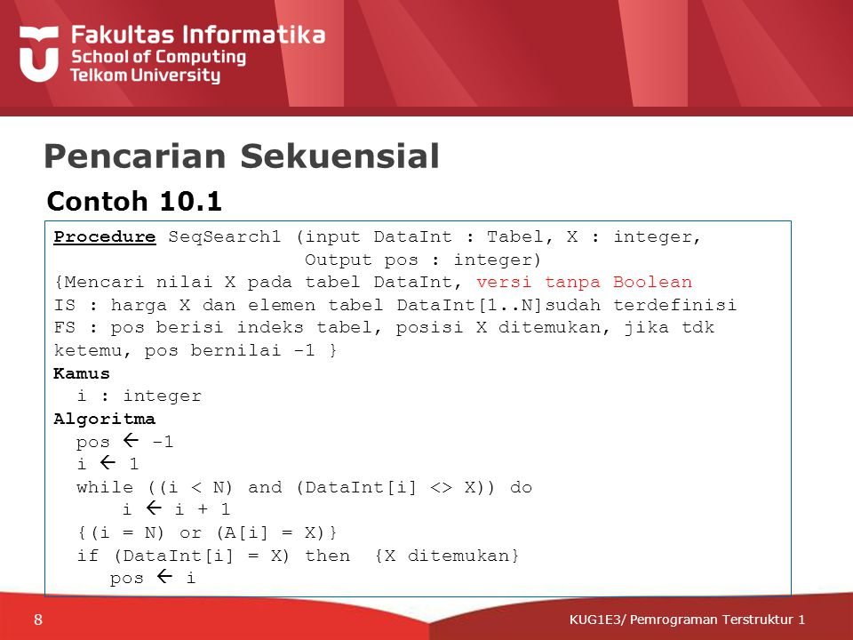 12-CRS-0106 REVISED 8 FEB 2013 KUG1E3/ Pemrograman Terstruktur 1 Pencarian Sekuensial Contoh 10.1 Procedure SeqSearch1 (input DataInt : Tabel, X : int