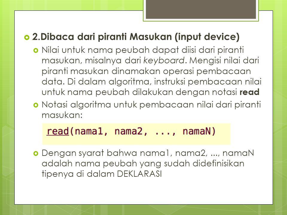  2.Dibaca dari piranti Masukan (input device)  Nilai untuk nama peubah dapat diisi dari piranti masukan, misalnya dari keyboard. Mengisi nilai dari