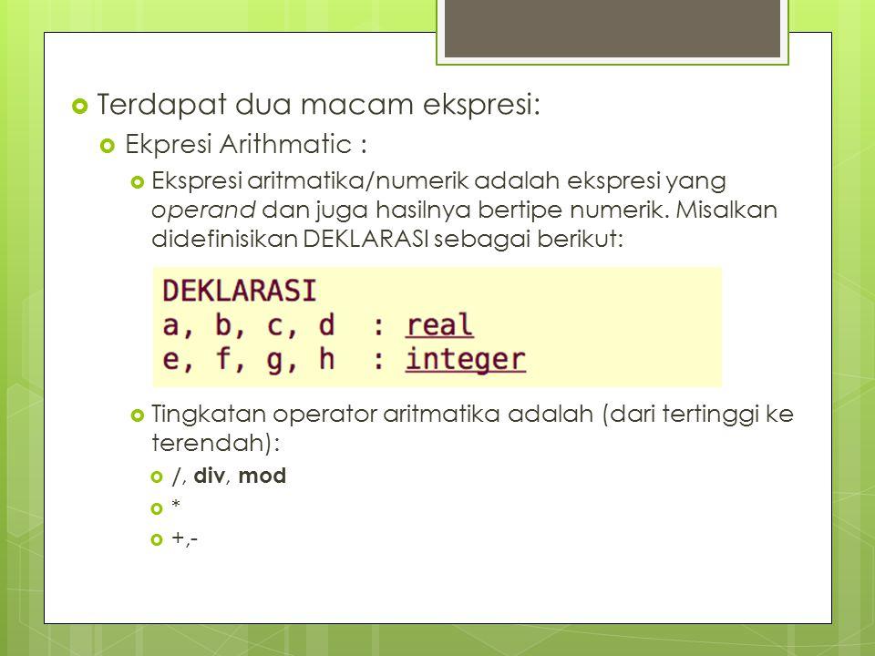 Terdapat dua macam ekspresi:  Ekpresi Arithmatic :  Ekspresi aritmatika/numerik adalah ekspresi yang operand dan juga hasilnya bertipe numerik. Mi