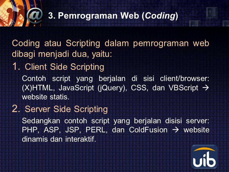 LOGO 3. Pemrograman Web (Coding) Coding atau Scripting dalam pemrograman web dibagi menjadi dua, yaitu: 1. Client Side Scripting Contoh script yang be