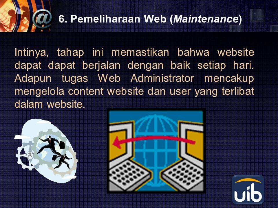 LOGO 6. Pemeliharaan Web (Maintenance) Intinya, tahap ini memastikan bahwa website dapat dapat berjalan dengan baik setiap hari. Adapun tugas Web Admi