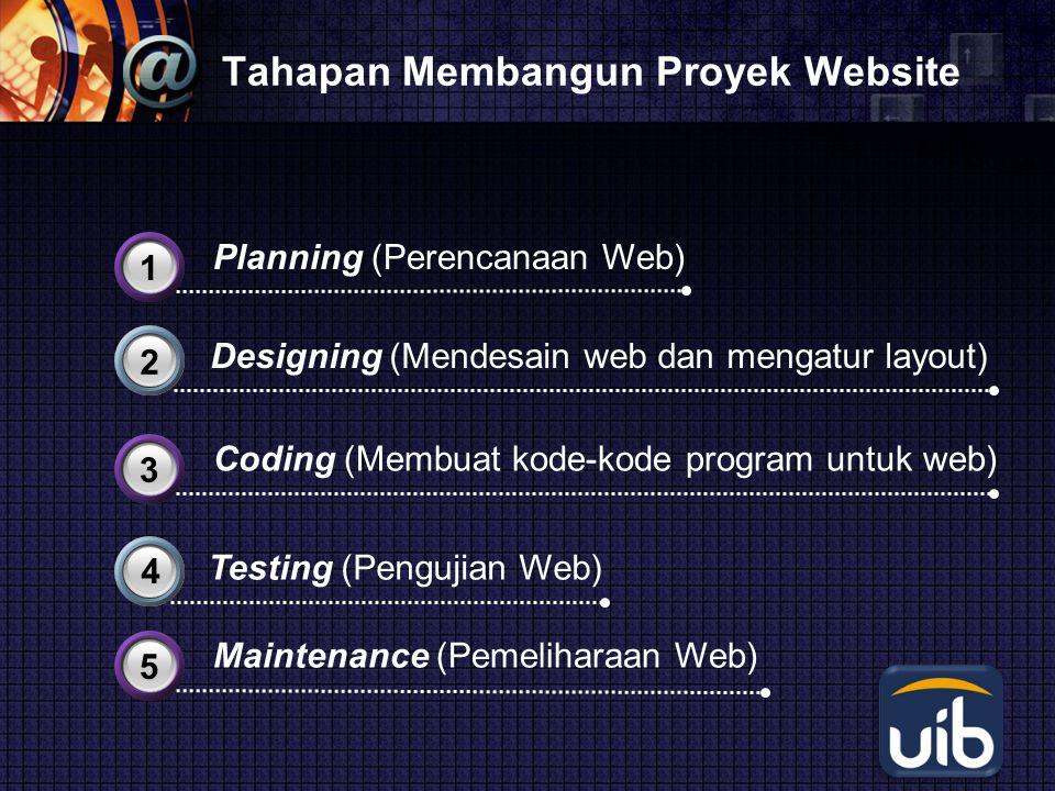 LOGO Tahapan Membangun Proyek Website Designing (Mendesain web dan mengatur layout) 2 Testing (Pengujian Web) 4 Planning (Perencanaan Web) 31 Coding (Membuat kode-kode program untuk web) 33 Maintenance (Pemeliharaan Web) 35