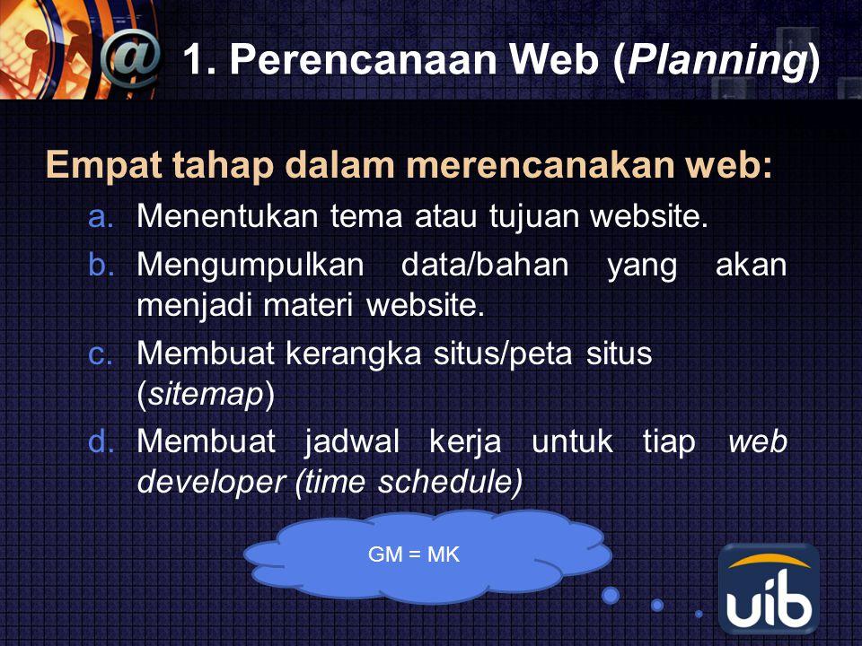 LOGO 1. Perencanaan Web (Planning) Empat tahap dalam merencanakan web: a.Menentukan tema atau tujuan website. b.Mengumpulkan data/bahan yang akan menj