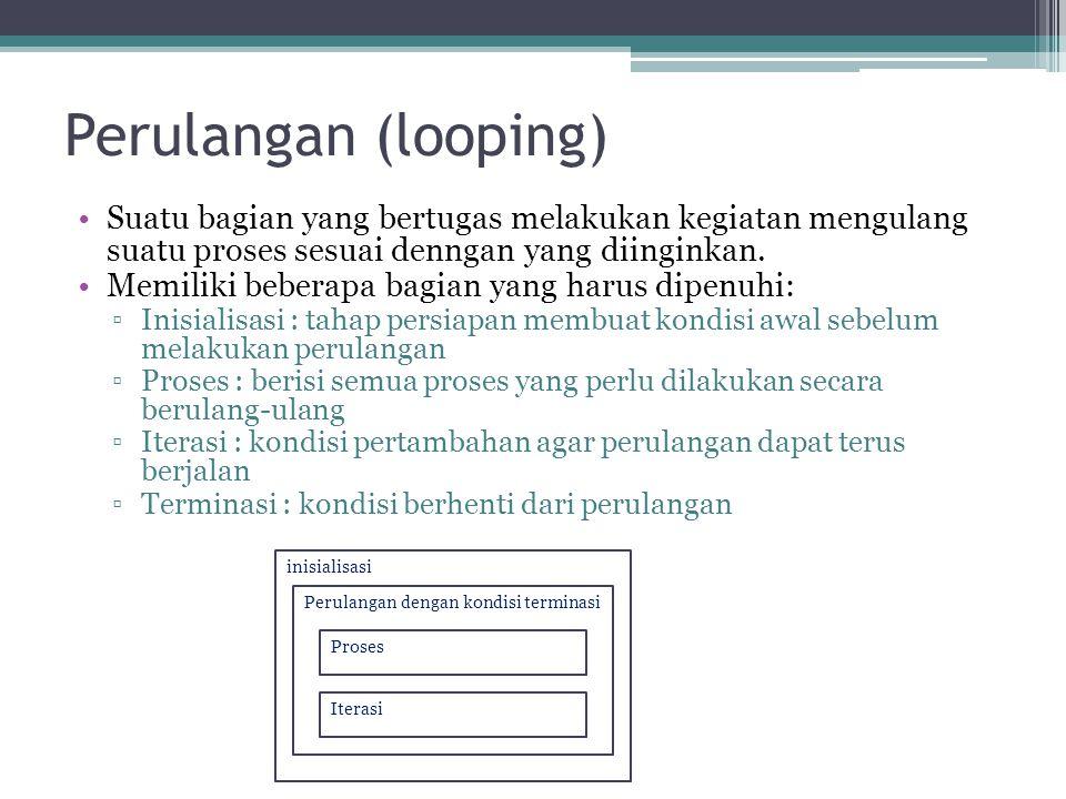 Perulangan (looping) Suatu bagian yang bertugas melakukan kegiatan mengulang suatu proses sesuai denngan yang diinginkan. Memiliki beberapa bagian yan