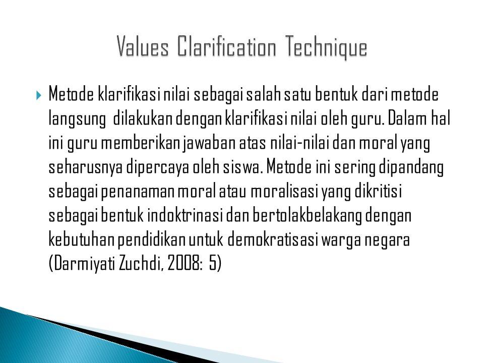  Metode klarifikasi nilai sebagai salah satu bentuk dari metode langsung dilakukan dengan klarifikasi nilai oleh guru. Dalam hal ini guru memberikan