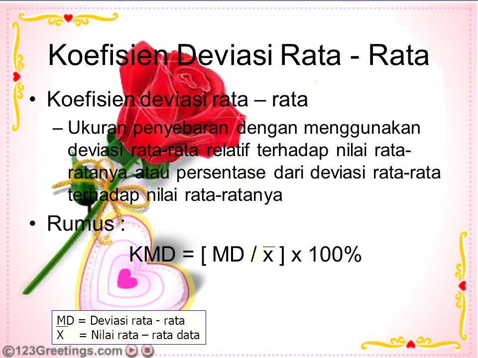 Koefisien Deviasi Rata - Rata Koefisien deviasi rata – rata –Ukuran penyebaran dengan menggunakan deviasi rata-rata relatif terhadap nilai rata- ratanya atau persentase dari deviasi rata-rata terhadap nilai rata-ratanya Rumus : KMD = [ MD / x ] x 100% MD = Deviasi rata - rata X = Nilai rata – rata data