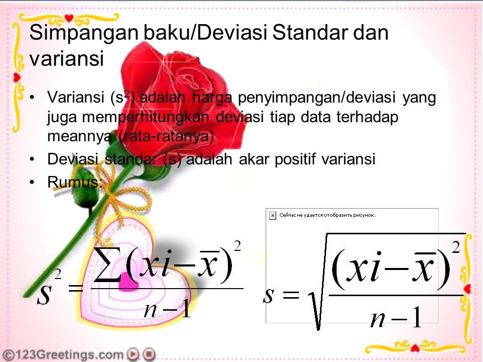 Simpangan baku/Deviasi Standar dan variansi Variansi (s 2 ) adalah harga penyimpangan/deviasi yang juga memperhitungkan deviasi tiap data terhadap meannya (rata-ratanya) Deviasi standar (s) adalah akar positif variansi Rumus: