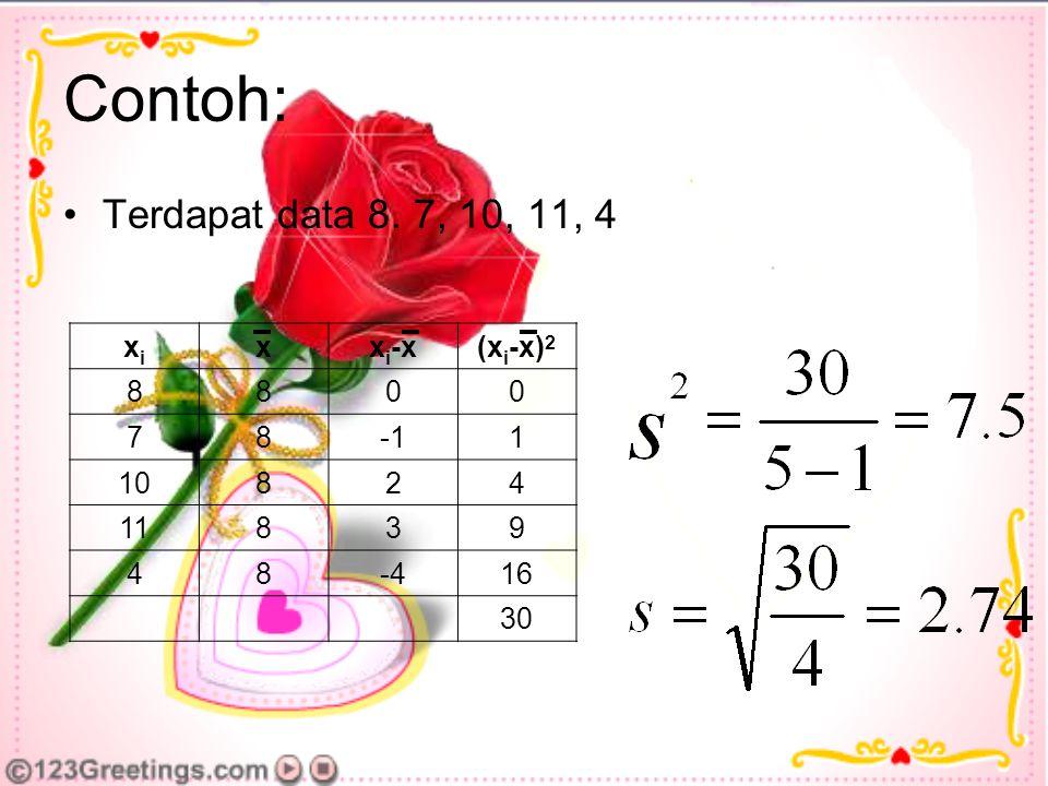 Contoh: Terdapat data 8. 7, 10, 11, 4 xixi xx i -x(x i -x) 2 8800 781 10824 11839 48-416 30