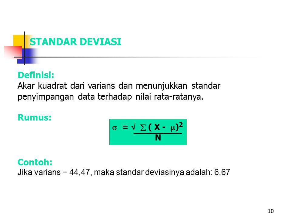 10 STANDAR DEVIASI Definisi: Akar kuadrat dari varians dan menunjukkan standar penyimpangan data terhadap nilai rata-ratanya. Rumus:  =   ( X -  )