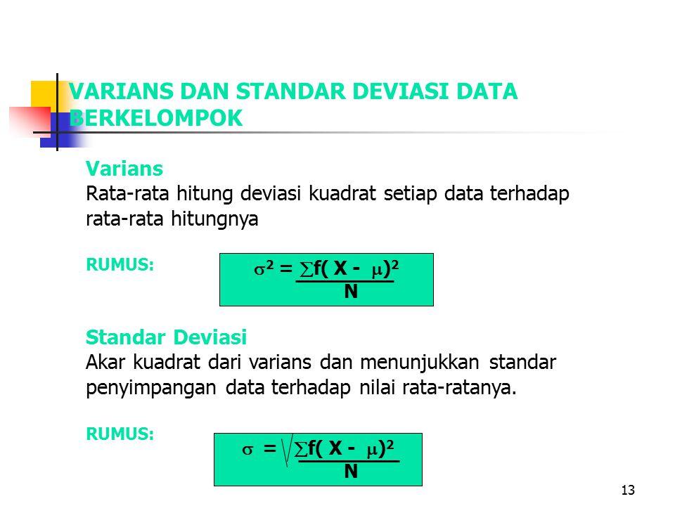 13 VARIANS DAN STANDAR DEVIASI DATA BERKELOMPOK Varians Rata-rata hitung deviasi kuadrat setiap data terhadap rata-rata hitungnya RUMUS: Standar Deviasi Akar kuadrat dari varians dan menunjukkan standar penyimpangan data terhadap nilai rata-ratanya.