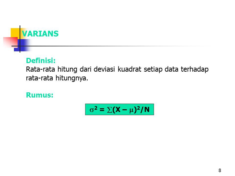 8 VARIANS  2 =  (X –  ) 2 /N Definisi: Rata-rata hitung dari deviasi kuadrat setiap data terhadap rata-rata hitungnya. Rumus: