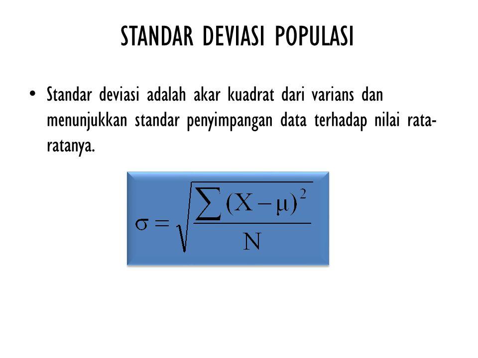 STANDAR DEVIASI POPULASI Standar deviasi adalah akar kuadrat dari varians dan menunjukkan standar penyimpangan data terhadap nilai rata- ratanya.