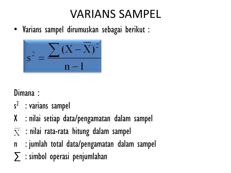VARIANS SAMPEL Varians sampel dirumuskan sebagai berikut : Dimana : s 2 : varians sampel X : nilai setiap data/pengamatan dalam sampel : nilai rata-ra