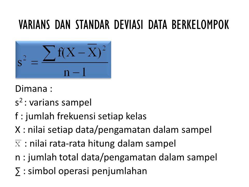 VARIANS DAN STANDAR DEVIASI DATA BERKELOMPOK Dimana : s 2 : varians sampel f : jumlah frekuensi setiap kelas X : nilai setiap data/pengamatan dalam sa