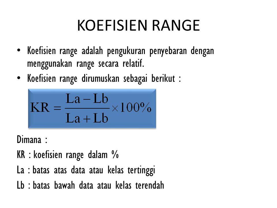 KOEFISIEN RANGE Koefisien range adalah pengukuran penyebaran dengan menggunakan range secara relatif. Koefisien range dirumuskan sebagai berikut : Dim