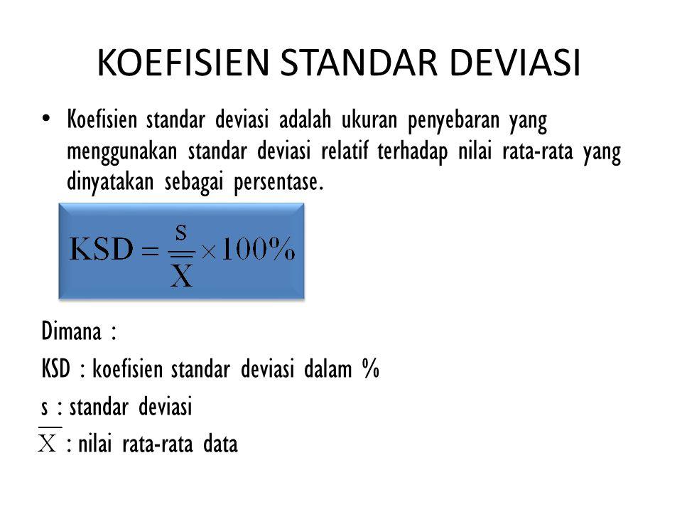 KOEFISIEN STANDAR DEVIASI Koefisien standar deviasi adalah ukuran penyebaran yang menggunakan standar deviasi relatif terhadap nilai rata-rata yang di