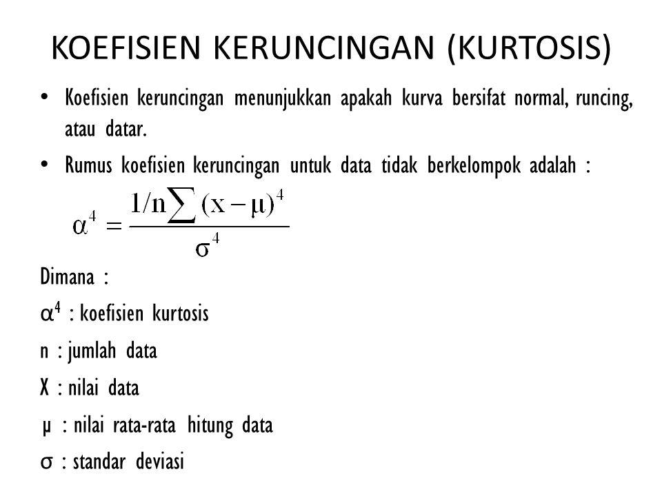 KOEFISIEN KERUNCINGAN (KURTOSIS) Koefisien keruncingan menunjukkan apakah kurva bersifat normal, runcing, atau datar. Rumus koefisien keruncingan untu