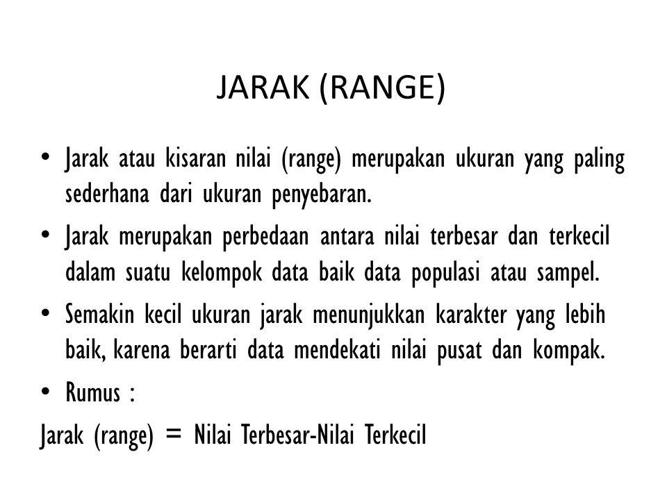 JARAK (RANGE) Jarak atau kisaran nilai (range) merupakan ukuran yang paling sederhana dari ukuran penyebaran. Jarak merupakan perbedaan antara nilai t