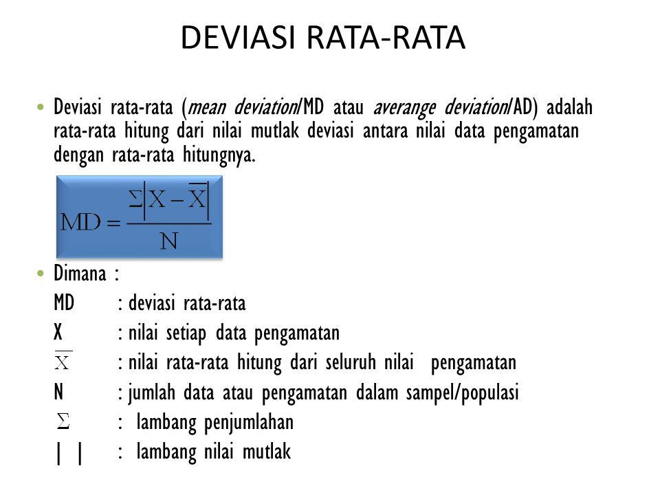 DEVIASI RATA-RATA Deviasi rata-rata (mean deviation/MD atau averange deviation/AD) adalah rata-rata hitung dari nilai mutlak deviasi antara nilai data