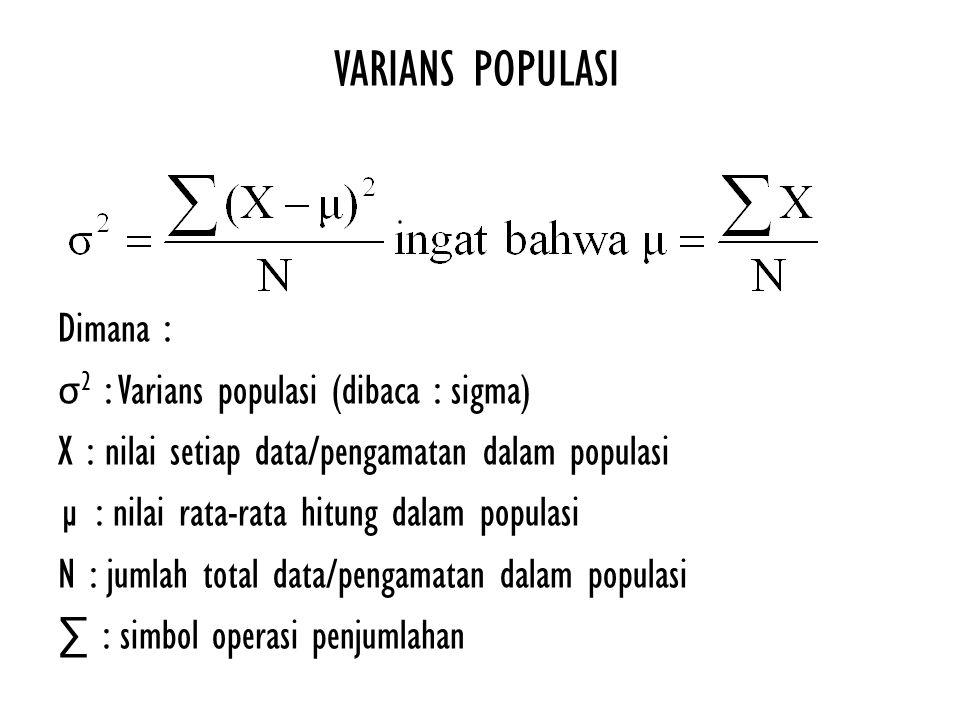 VARIANS POPULASI Dimana : σ 2 : Varians populasi (dibaca : sigma) X : nilai setiap data/pengamatan dalam populasi µ : nilai rata-rata hitung dalam pop