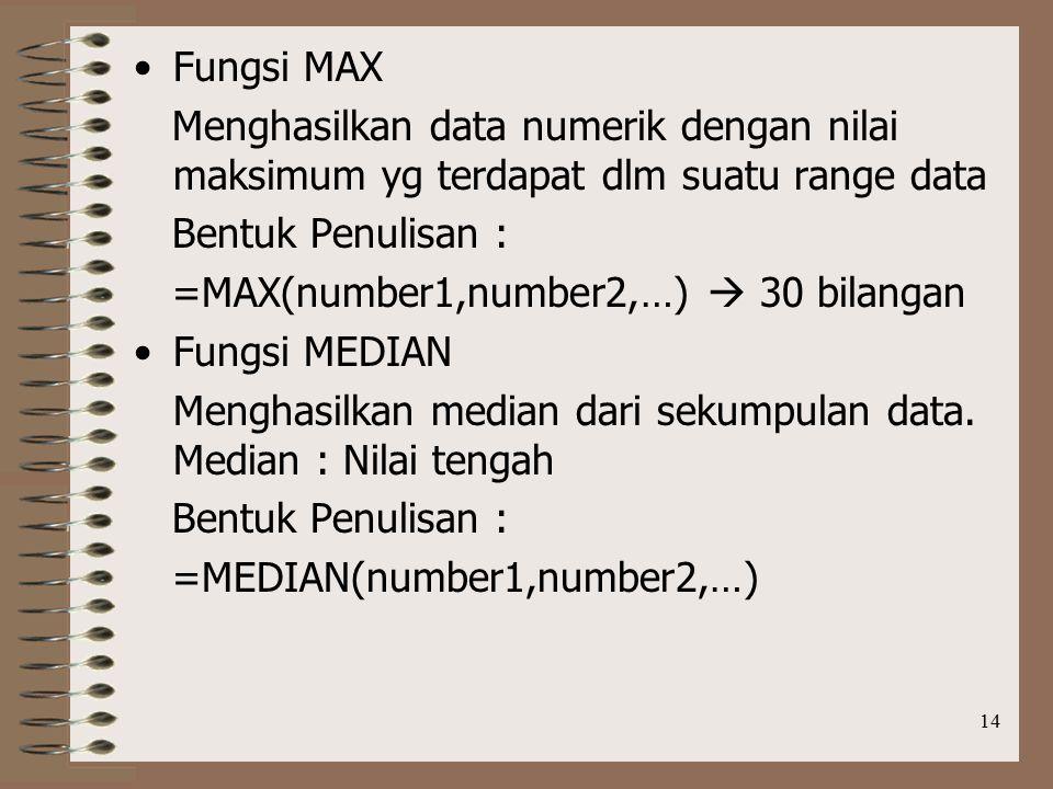 14 Fungsi MAX Menghasilkan data numerik dengan nilai maksimum yg terdapat dlm suatu range data Bentuk Penulisan : =MAX(number1,number2,…)  30 bilangan Fungsi MEDIAN Menghasilkan median dari sekumpulan data.