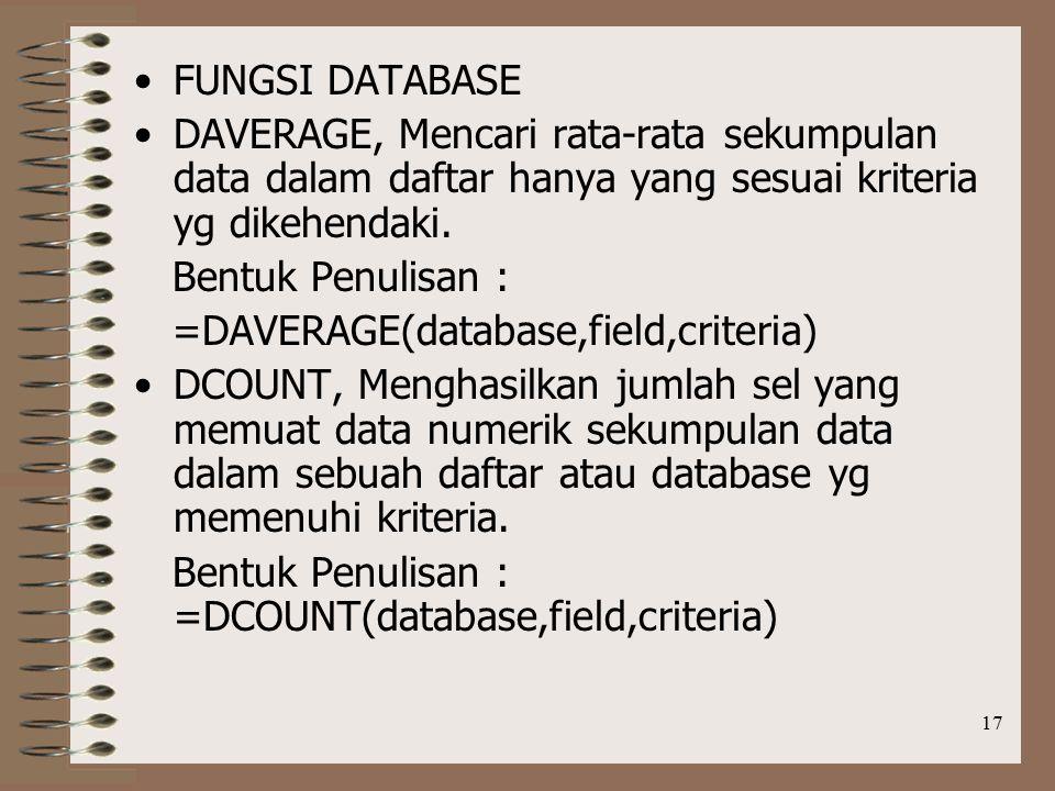 17 FUNGSI DATABASE DAVERAGE, Mencari rata-rata sekumpulan data dalam daftar hanya yang sesuai kriteria yg dikehendaki.
